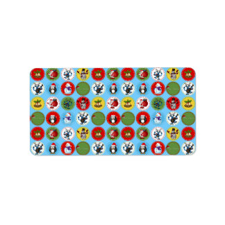 Cute funny trendy Christmas characters pattern Address Label