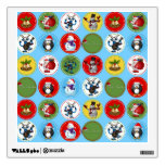 Cute funny trendy Christmas characters pattern Room Decal