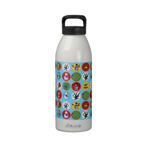 Cute funny trendy Christmas characters pattern Reusable Water Bottles