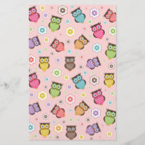 Cute funny trendy owls and flowers pattern