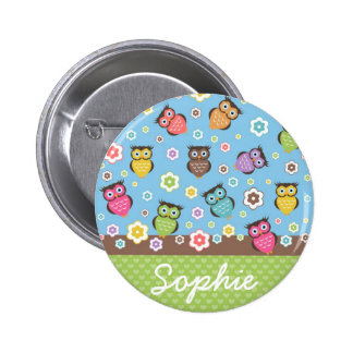 Cute funny trendy owls and flowers pattern 2 inch round button