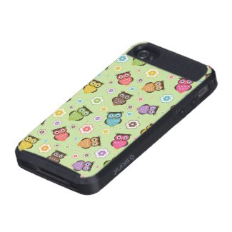 Cute funny trendy owls and flowers pattern case for iPhone 4