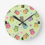 Cute funny trendy owls and flowers pattern round wallclock