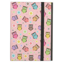Cute funny trendy owls and flowers pattern cover for iPad air