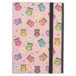 Cute funny trendy owls and flowers pattern iPad folio cases