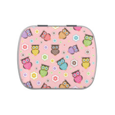 Cute funny trendy owls and flowers pattern jelly belly tins at Zazzle