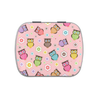 Cute funny trendy owls and flowers pattern jelly belly tins