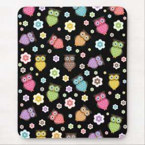 Cute funny trendy owls and flowers pattern mouse pad