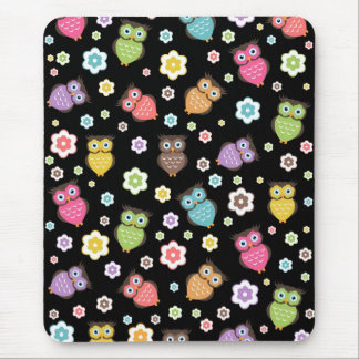 Cute funny trendy owls and flowers pattern mousepads