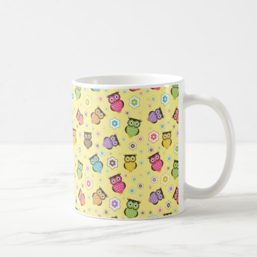 Cute funny trendy owls and flowers pattern mugs