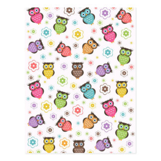 Cute funny trendy owls and flowers pattern postcard