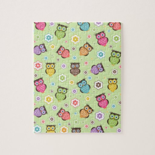 Cute funny trendy owls and flowers pattern puzzle