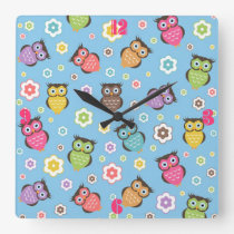 Cute funny trendy owls and flowers pattern square wall clock