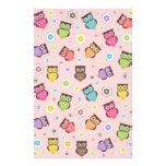 Cute funny trendy owls and flowers pattern stationery