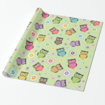 Cute funny trendy owls and flowers pattern wrapping paper