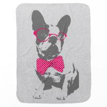 Cute funny trendy vintage animal French bulldog Baby Blanket