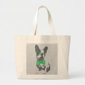Cute funny trendy vintage animal French bulldog Jumbo Tote Bag
