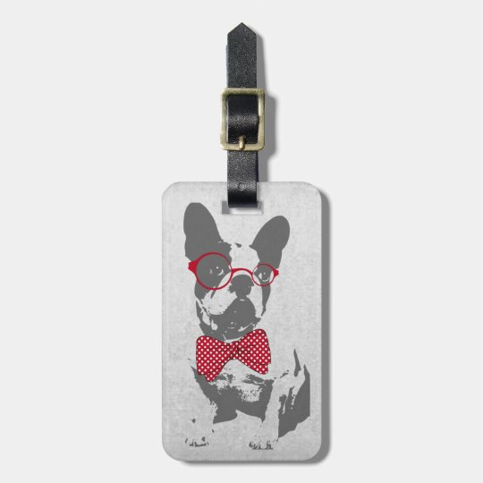 Cute funny trendy vintage animal French bulldog Bag Tag