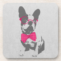 Cute funny trendy vintage animal French bulldog Beverage Coaster