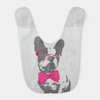 Cute funny trendy vintage animal French bulldog Bib