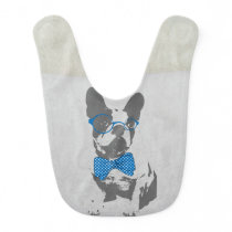 Cute funny trendy vintage animal French bulldog Bib