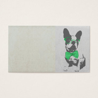Cute funny trendy vintage animal French bulldog Business Card