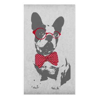 Cute funny trendy vintage animal French bulldog Business Card Template