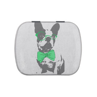 Cute funny trendy vintage animal French bulldog Candy Tin