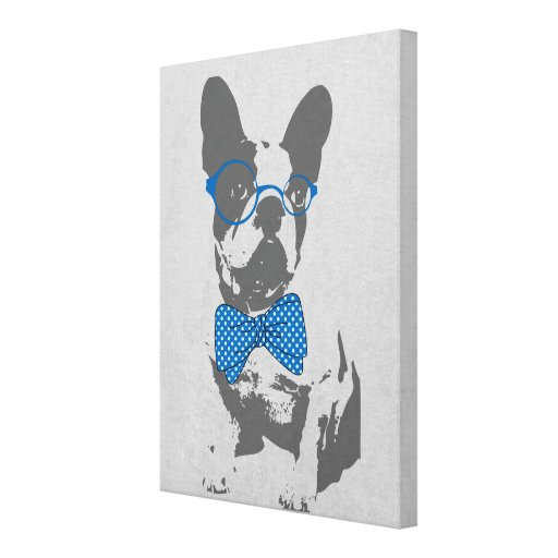 Cute funny trendy vintage animal French bulldog Stretched Canvas Prints
