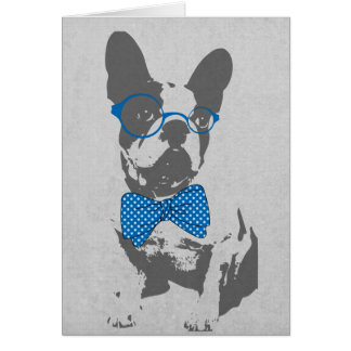 Cute funny trendy vintage animal French bulldog Card