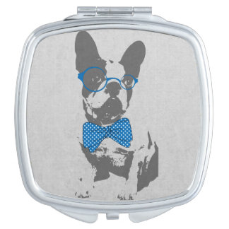 Cute funny trendy vintage animal French bulldog Compact Mirror