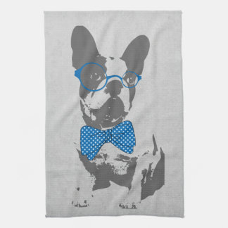 Cute funny trendy vintage animal French bulldog Hand Towel