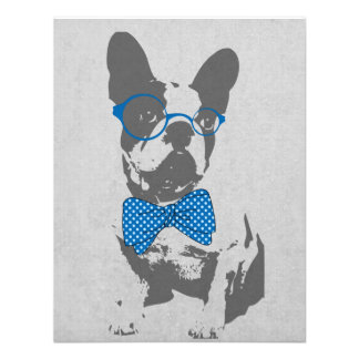 Cute funny trendy vintage animal French bulldog Custom Invitation
