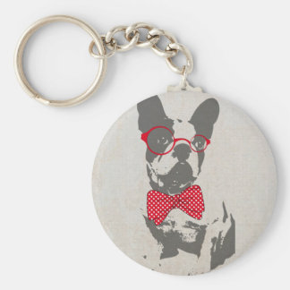 Cute funny trendy vintage animal French bulldog Basic Round Button Keychain