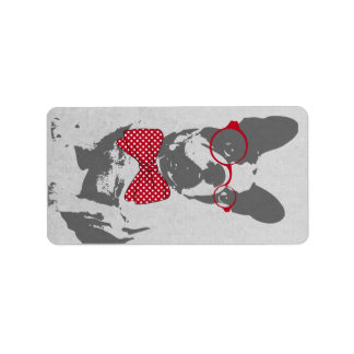 Cute funny trendy vintage animal French bulldog Label