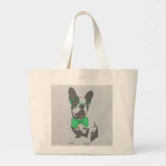 Cute funny trendy vintage animal French bulldog Large Tote Bag