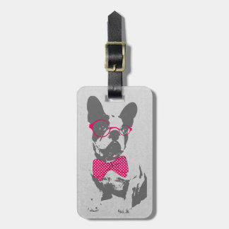 Cute funny trendy vintage animal French bulldog Travel Bag Tags