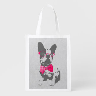 Cute funny trendy vintage animal French bulldog Market Totes