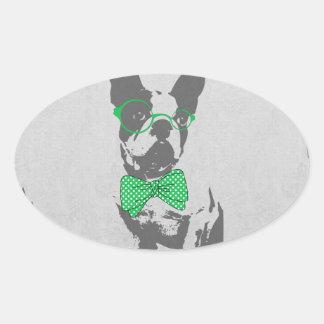 Cute funny trendy vintage animal French bulldog Oval Sticker
