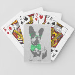 "Cute funny trendy vintage animal French bulldog Playing Cards<br><div class=""desc"">Cute funny trendy vintage animal French bulldog with bright green polka dot bow and glasses. black, grey puppy dog image, vintage, antique old grunge distressed grey paper background, neon, vibrant green, grey, black, cute, fun, bright, laugh, fashionable . Dog, pet, puppy, dog breed, animal, dog lover. Personalize it with your...</div>"