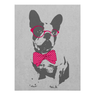 Cute Funny Trendy Vintage Animal French Bulldog Poster at Zazzle