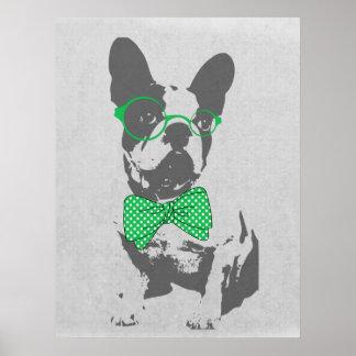 Cute funny trendy vintage animal French bulldog Print