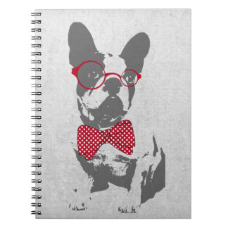 Cute funny trendy vintage animal French bulldog Spiral Notebook