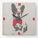 Cute funny trendy vintage animal French bulldog Square Wall Clock