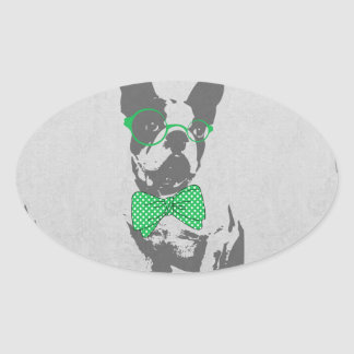 Cute funny trendy vintage animal French bulldog Oval Sticker