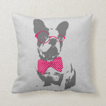 Cute funny trendy vintage animal French bulldog Throw Pillow