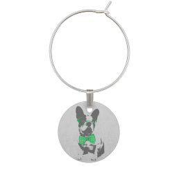 Cute funny trendy vintage animal French bulldog Wine Charm