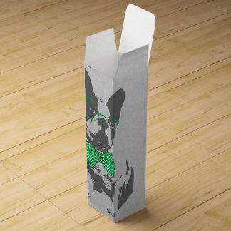 Cute funny trendy vintage animal French bulldog Wine Gift Box