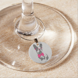 Cute funny trendy vintage animal French bulldog Wine Glass Charm