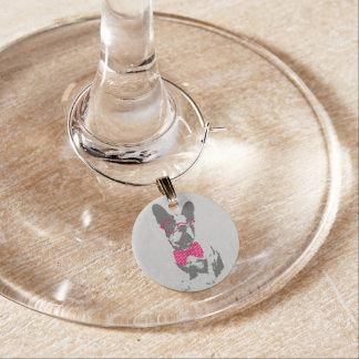 Cute funny trendy vintage animal French bulldog Wine Glass Charm